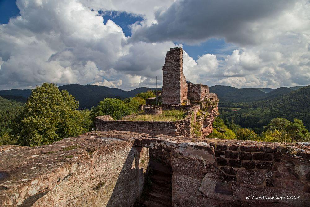 Blick auf Burg Altdahn mit Wasgau Landschaft
