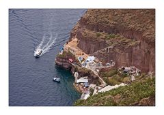 Blick auf den Hafen von Fira