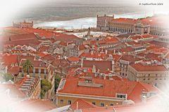 Blick auf den Praça do Comércio von Castelo de Sao Jorge