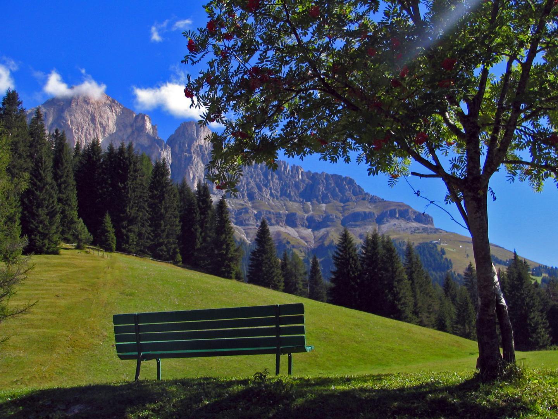 Blick auf den Rosengarten in den Dolomiten