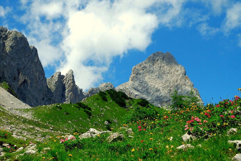 Blick auf die Lamsenspitze (2508m) im Karwendelgebirge (2)