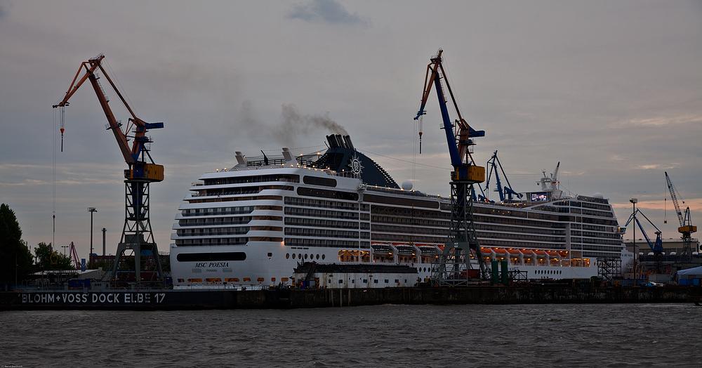 Blick auf Dock Elbe 17 - MSC Poesia