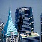 Blick auf einen Mini-Flugplatz vom WTC in New York