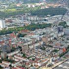 Blick auf Rostock vom Helikopter