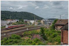 Blick aus dem ehem. Gebäude des Bahnbetriebswerk Marburg ...