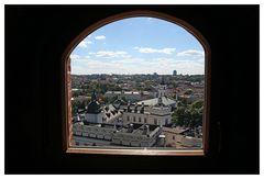Blick aus dem Gediminas Turm auf das grossfürstliche Schloss in Vilnius