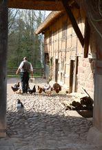 Blick durch das Hoftor eines Bauernhofes