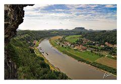 Blick nach Rathen und zum Lilienstein von der Bastei...