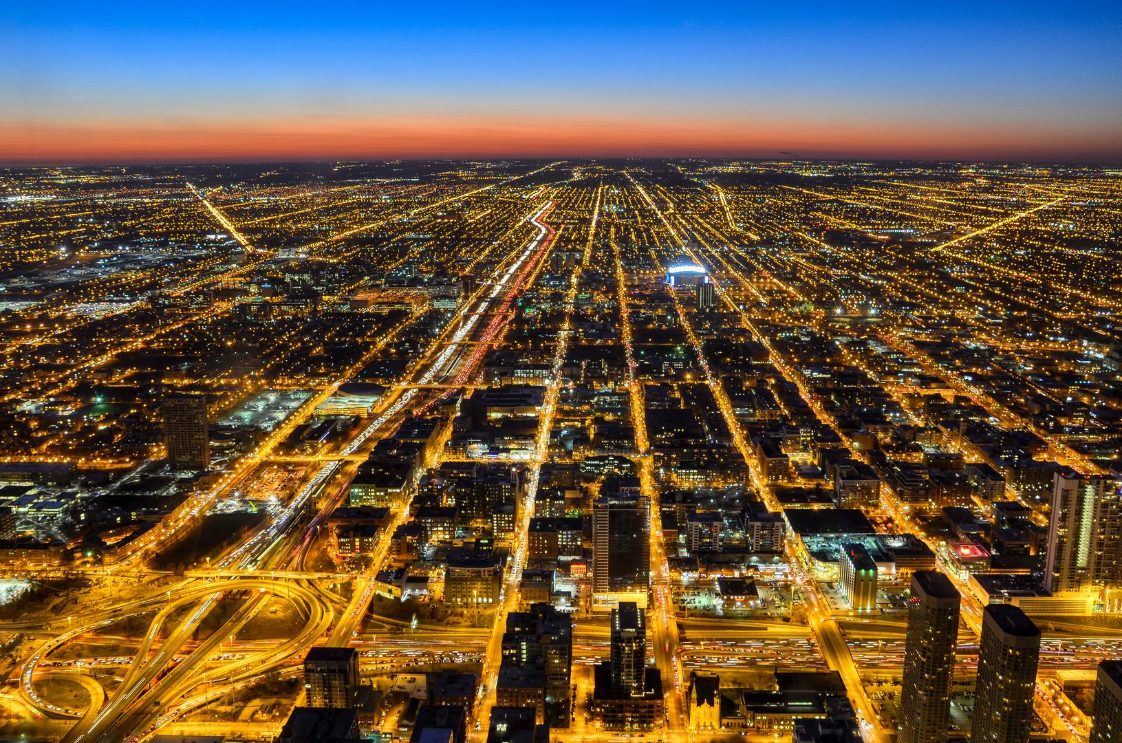 Blick über Chicago vom Willis Tower