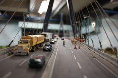 Blick über die Elbebrücke in der Miniwelt Hamburg