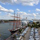 Blick über die Hanse Sail 2018 in Warnemünde