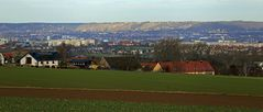 Blick über Dresden westlich des Zentrums zu den Weinbergen..