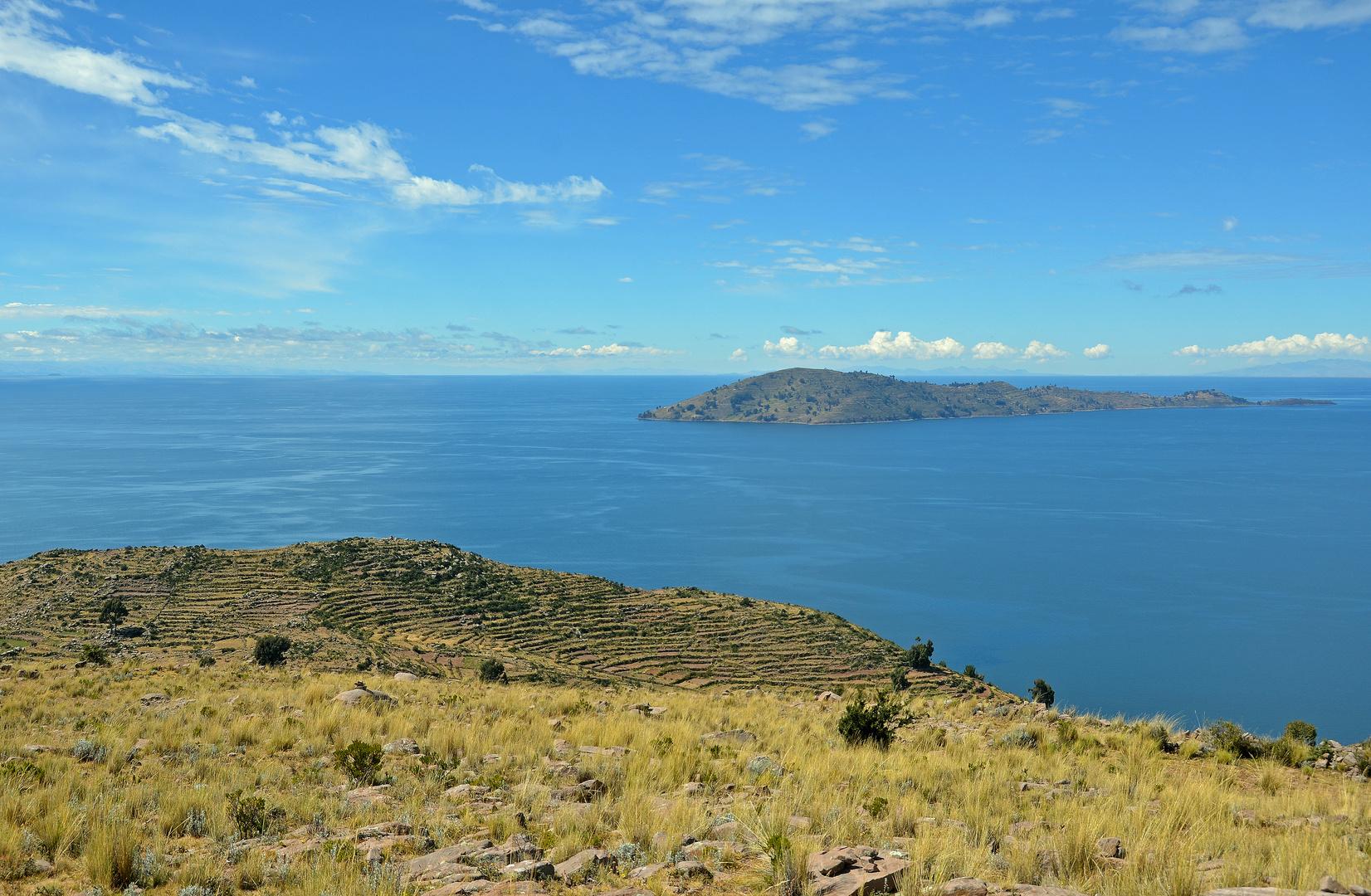 Blick vom Carus mirador auf den Titicacasee