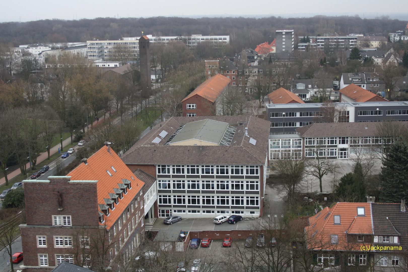 Blick vom Rathausturm (2) in die Hinterhöfe von Buer