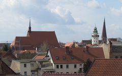 Blick vom Turmstübchen der Lateinschule der Neustadt aus über die Dächer der alten