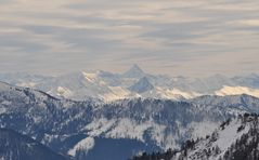 Blick vom Wallberg zu den Tiroler Alpen