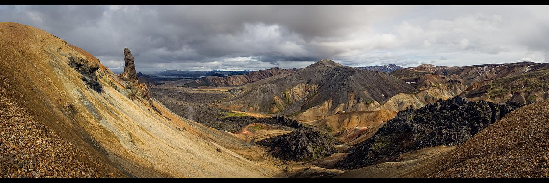 Blick von Brennisteinsalda nach Landmannalaugar
