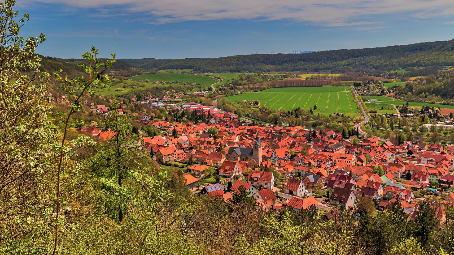 Blick von Burg Normannstein auf Treffurt und Werratal