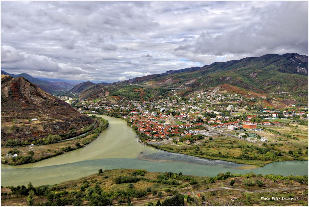 Blick von Kloster Dschwari auf Mzcheta