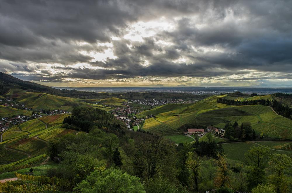 Blick von Schloss Staufenberg (Durbach) ins Rheintal
