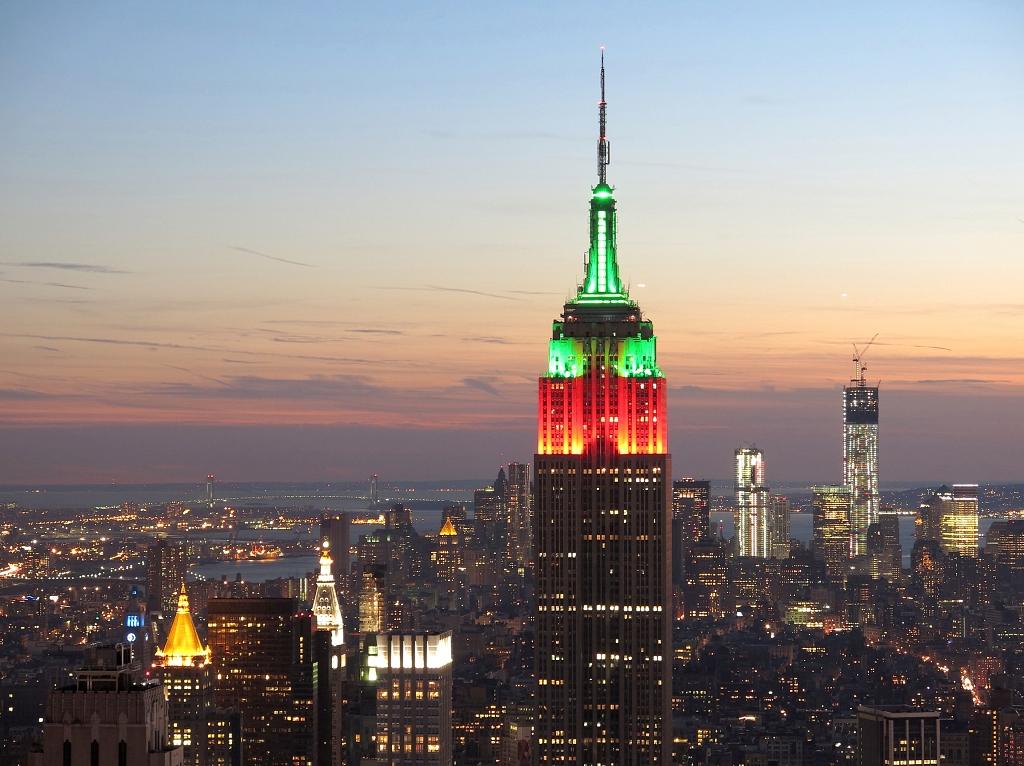 Blick von Top of the Rock in der Abenddämmerung