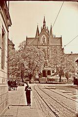 Blick zum Mariendom von der Mainzerhofstraße