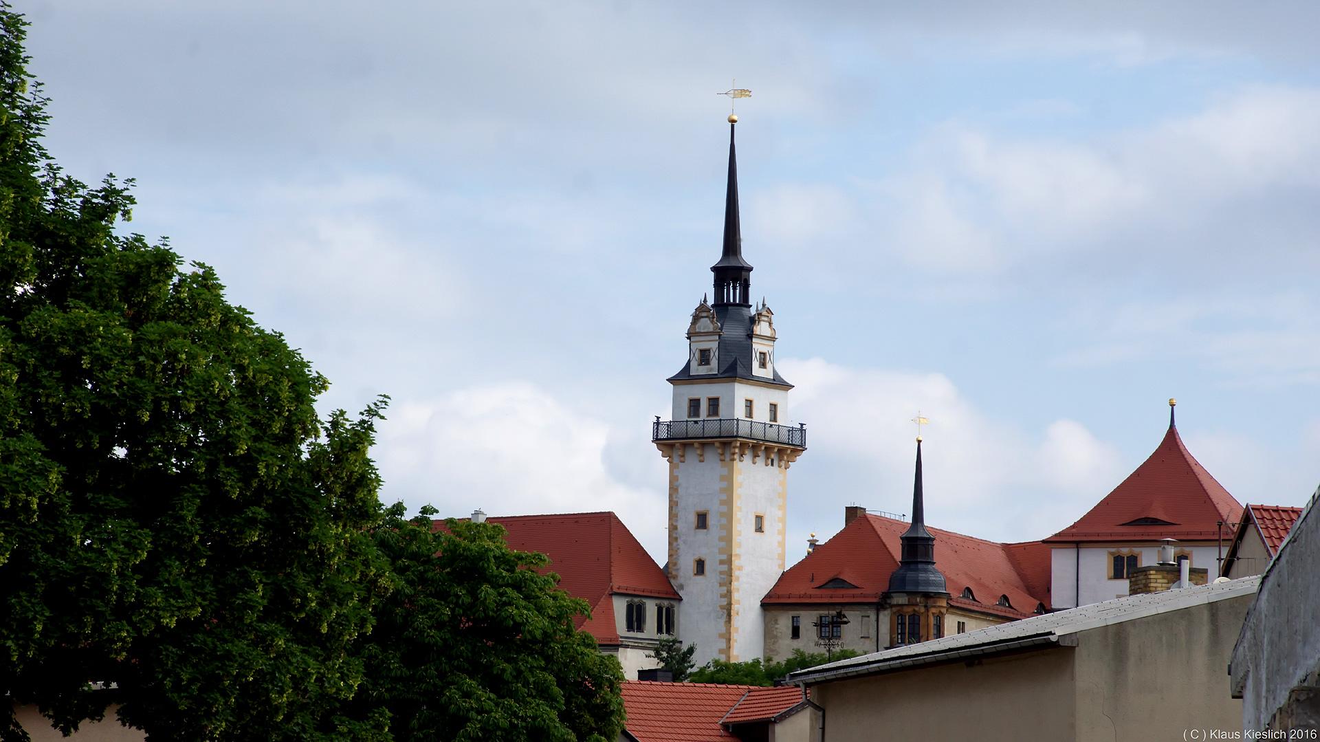Blick zum Schloß Hartenfels in Torgau
