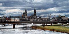 Blick zur Hofkirche der Dresdner Altstadt