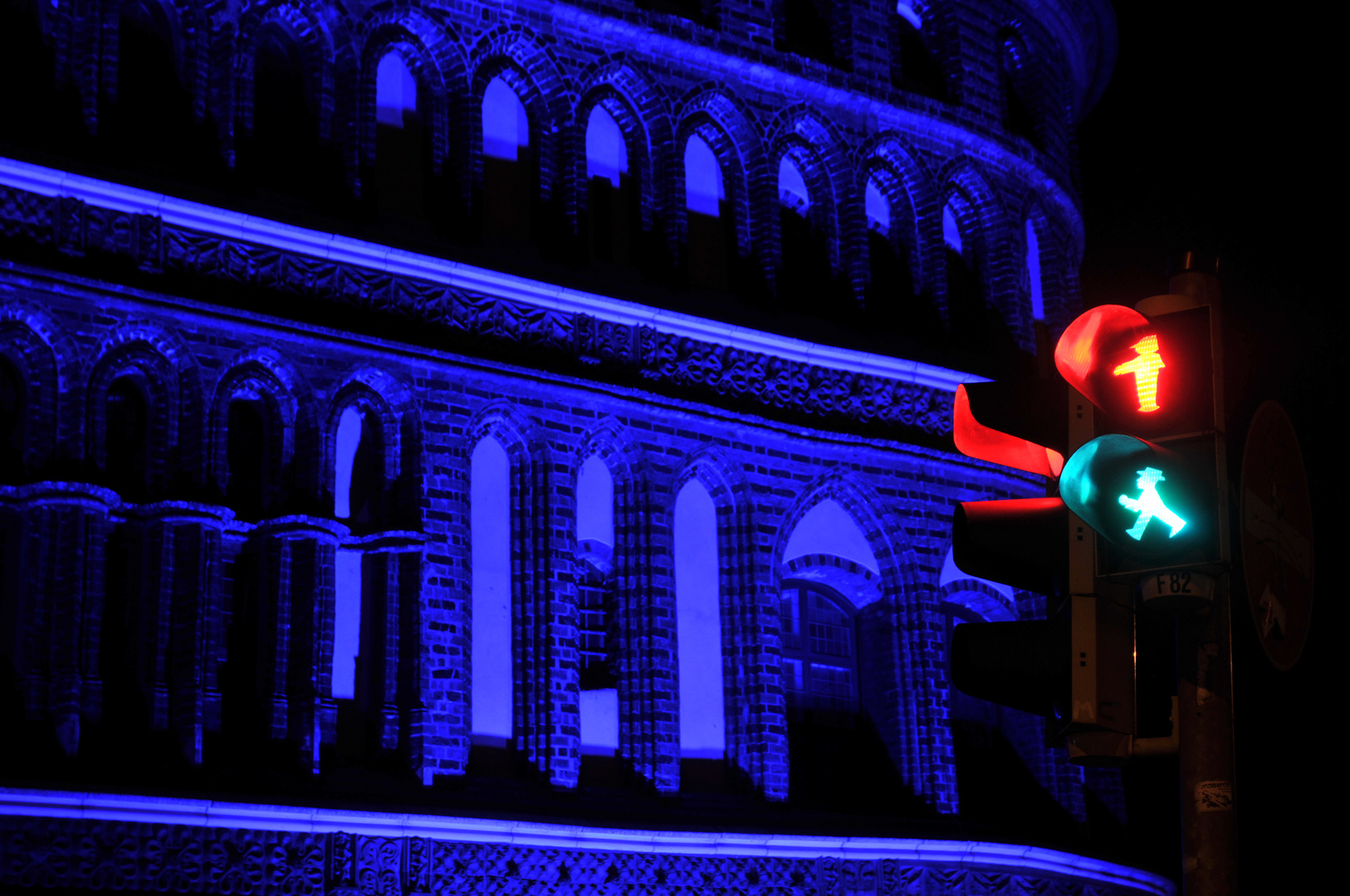 blue Holstentor, red and green