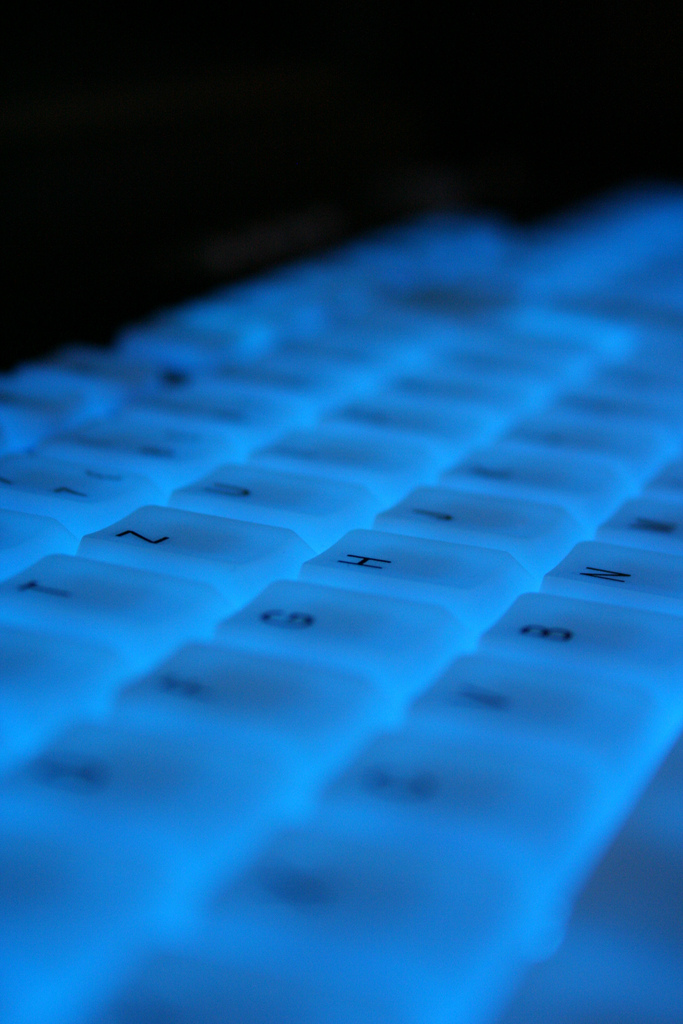 blue illuminated keyboard