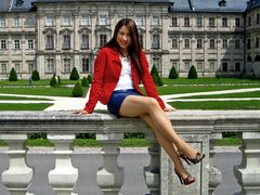 Blue Leather Skirt and Red Jacket 01