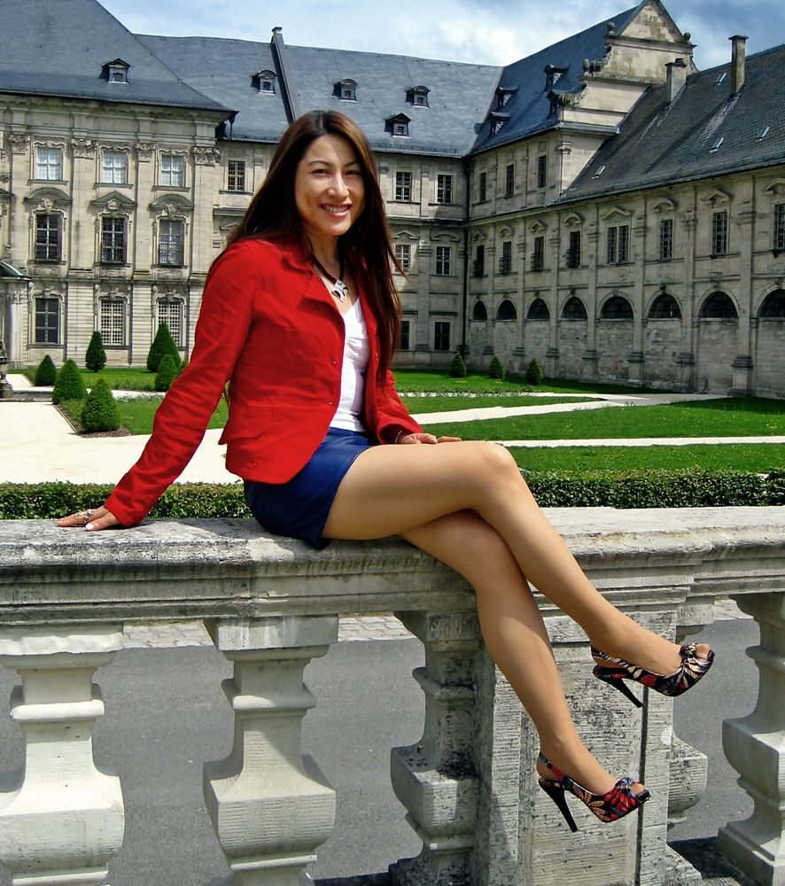 Blue Leather Skirt and Red Jacket 02