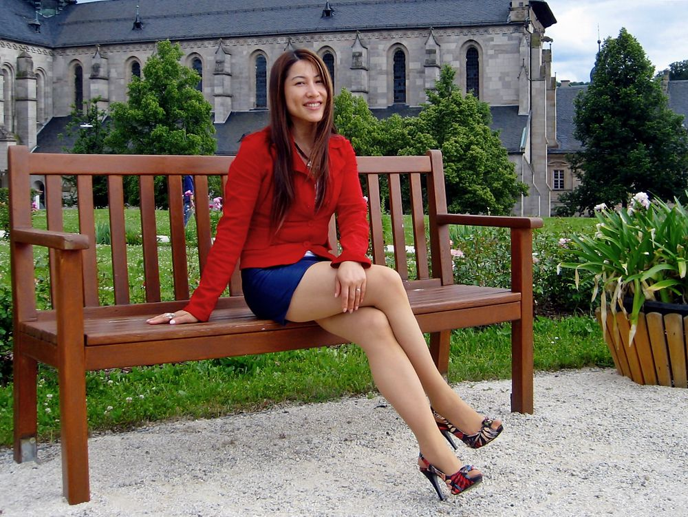 Blue Leather Skirt and Red Jacket 03