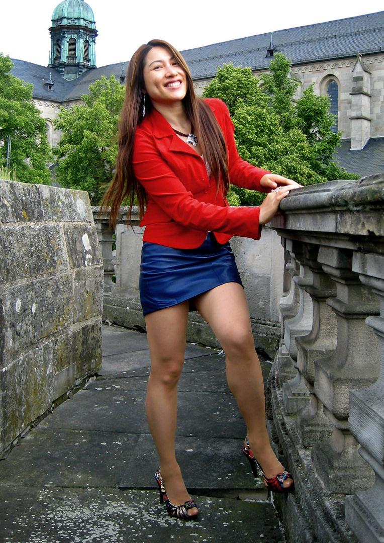 Blue Leather Skirt and Red Jacket 05