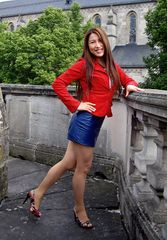 Blue Leather Skirt and Red Jacket 06