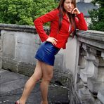 Blue Leather Skirt and Red Jacket 07