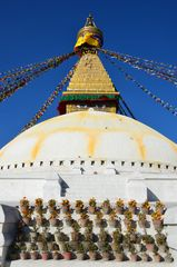 Blumen am Stupa von Bodnath in Kathmandu