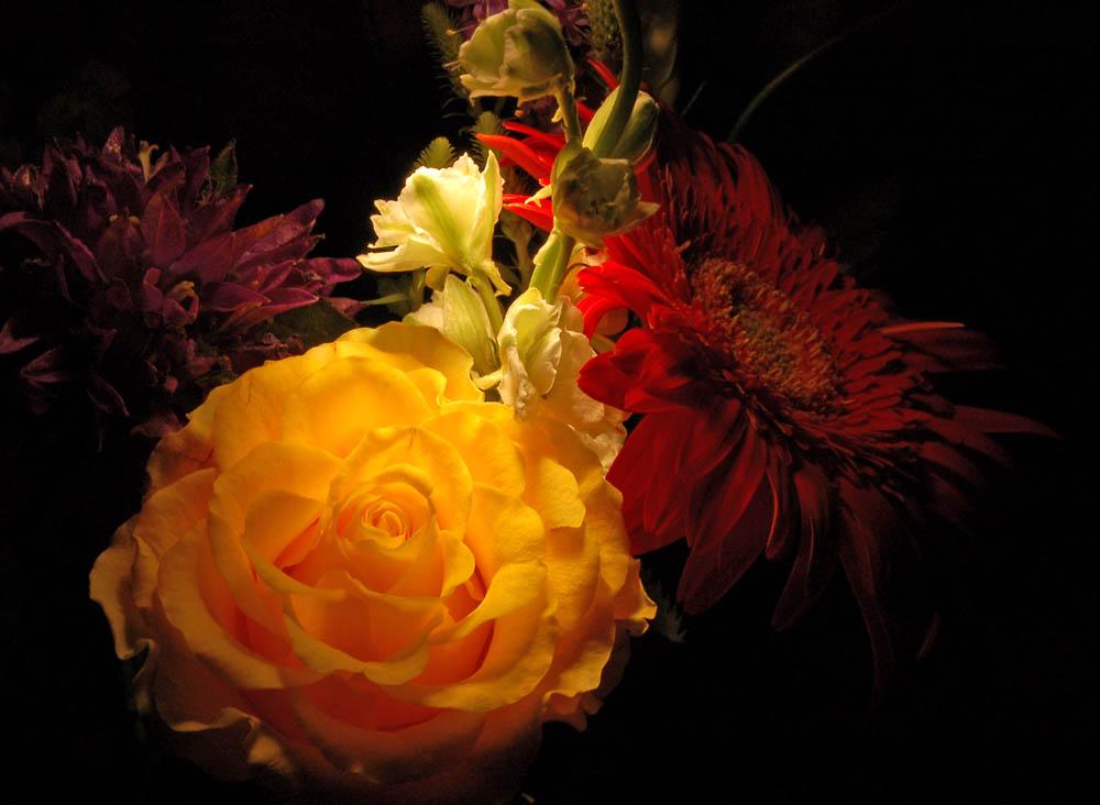 Blumenstrauß im Dunkeln