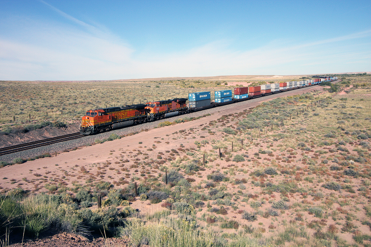 BNSF Train running on the old tracks of Santa Fe through the Petrified Forest