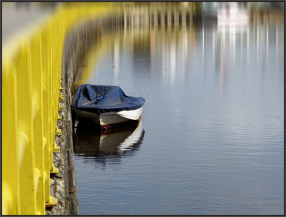 Boat against a wall at the water channel