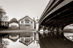 boat house in Cambridge - black & white version