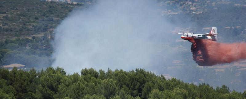 bombardier d'eau en action sur un feu de forêt.