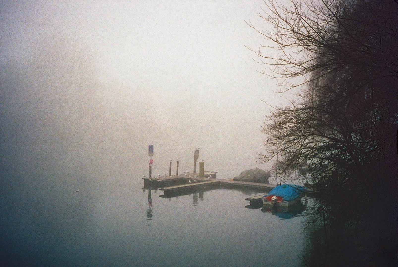Bootssteg im Nebel