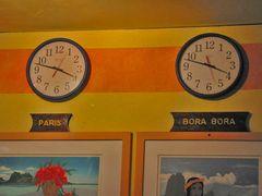 Bora Bora die Zeit stimmt (12 Stunden Zeitunterschied)