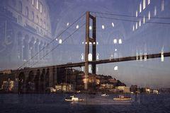 Bosporusbrücke mit Hagia Sophia Moschee, Istanbul, Türkei