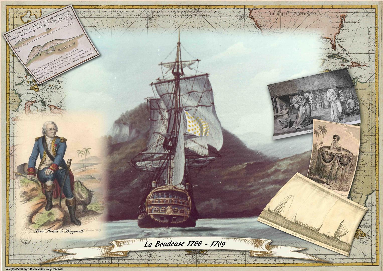 Bouganvilles Forschungsschiff die franz. Fregatte LA BODEUSE