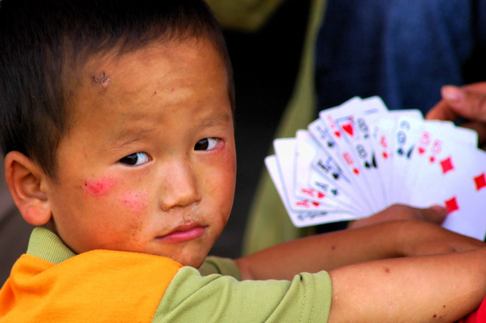 Boy with cards