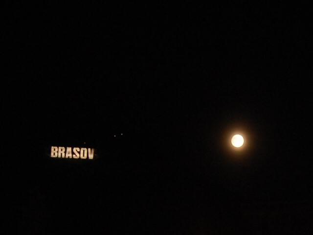 Brasov, Romania - full moon at midnight
