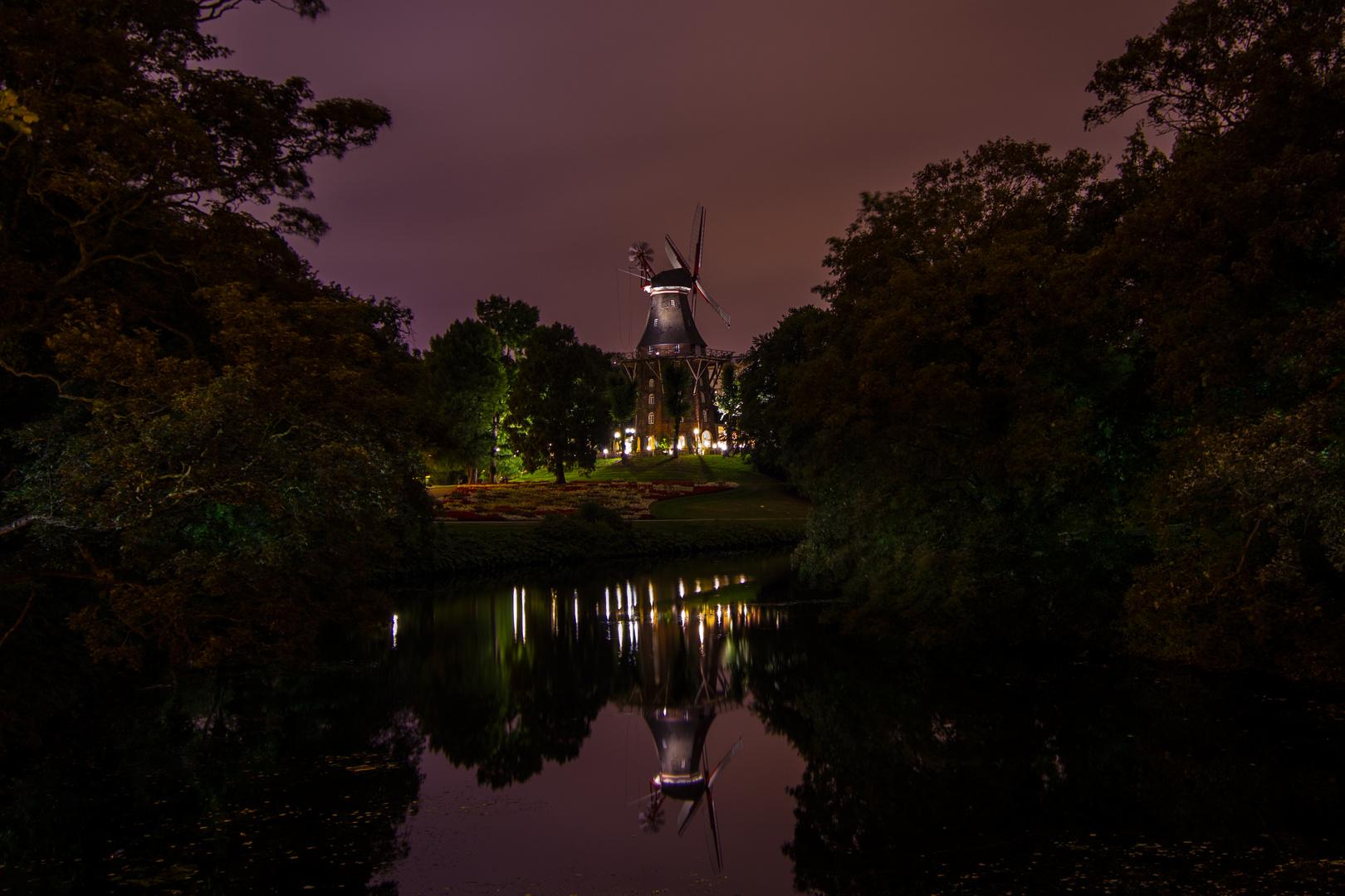 Bremer Mühle am Wall bei Nacht