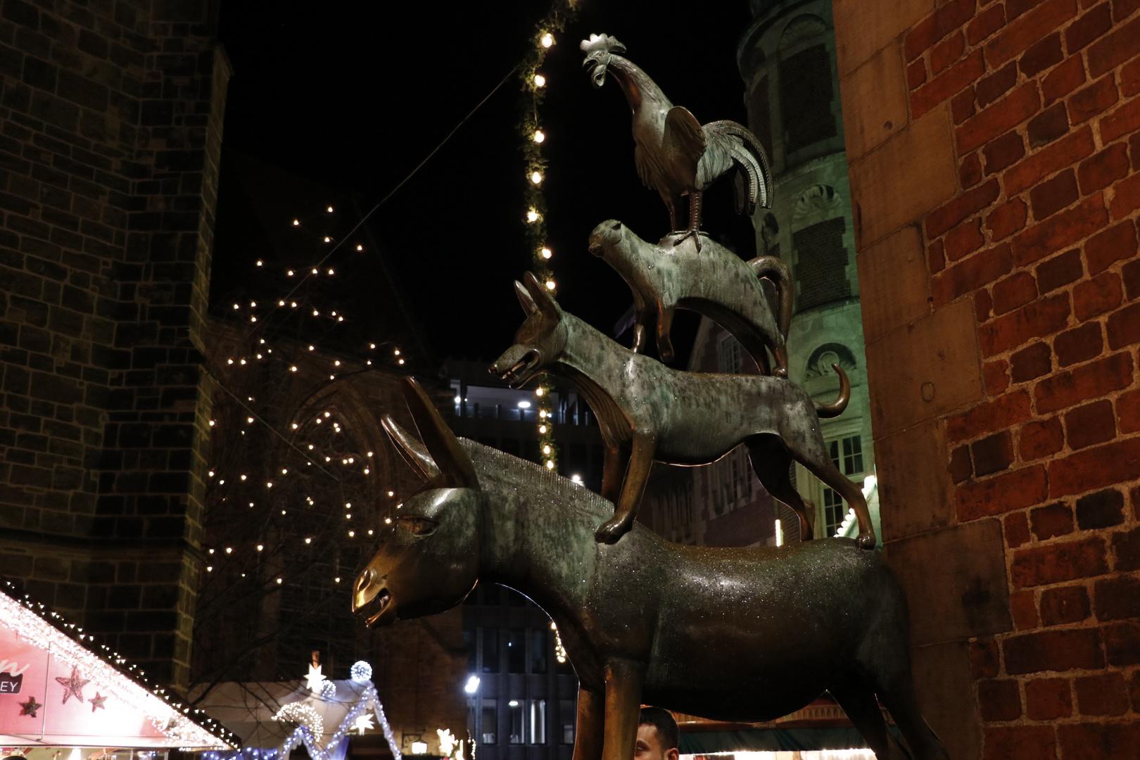 bremer stadtmusikanten laden zum weihnachtsmarkt foto